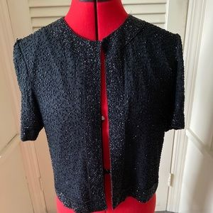 Beautiful Vintage Beaded 100% Silk Ladies Shrug Sm